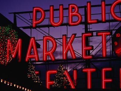 Pike Place Market Neon Sign, Seattle, Washington, USA