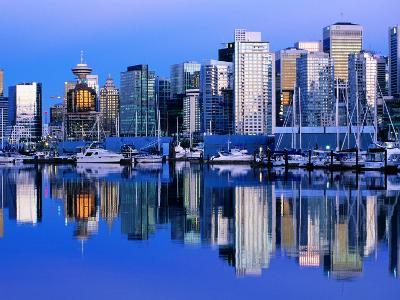 City Skyline and Coal Harbour, Dusk, Vancouver, Canada