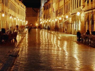 People Sitting at Tables on Placa at Night, Dubrovnik, Croatia