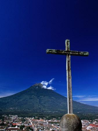 Antigua City and Water Volcano, Sacatepequez, Guatemala