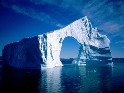 An Unusually Shaped Iceberg with Arch, Disko Bay, Ilulissat, Greenland