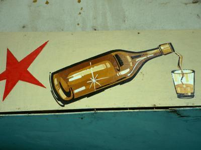 Advertisement for Cuban Rum in Old Havana, Havana, Cuba