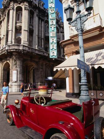 Old American Car in Front of Hotel Inglaterra, Havana, Cuba