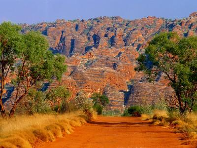 Natural Rock Formations of Bungle Bungles and Dirt Road Leading to It, Purnululu NP, Australia