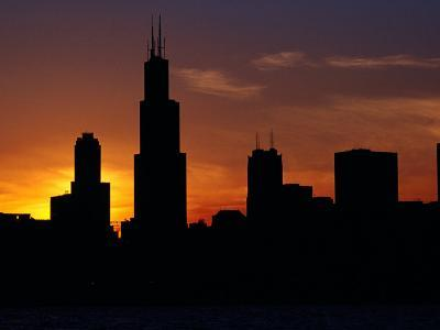 The Sears Tower and Skyline at Sunset, Chicago, USA