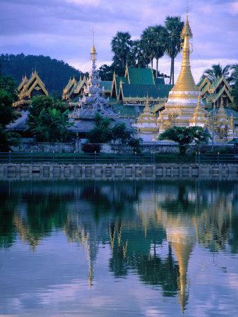 Wat Jong Kham Reflecting in Jong Kham Pond, Mae Hong Son, Thailand