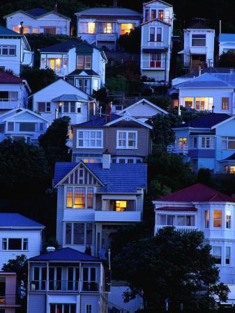 Houses on Hillside at Oriental Bay, Wellington, Wellington, New Zealand
