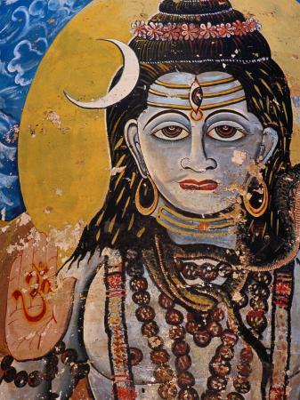 Hindu Mural on Dr. Rajendraprsad Ghat, Varanasi, Uttar Pradesh, India