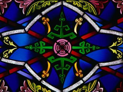 Detail of Stained-Glass Window in a Church, New Orleans, Louisiana, USA