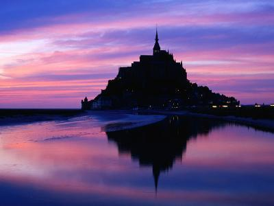 The Mont Reflected in the Bay at Dusk, Mont St. Michel, Basse-Normandy, France