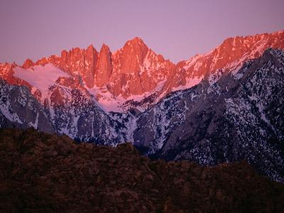 Eastern Sierra Mountains Seen from Lone Pine, Mt. Whitney Wilderness Area, USA