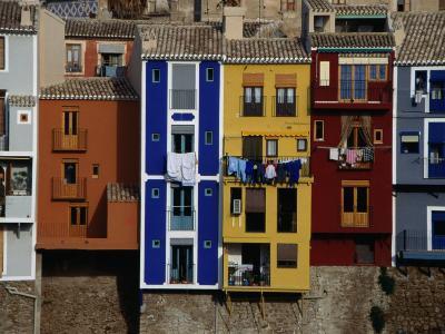 Brightly Painted Houses at La Vila Joiosa, Near Benidorm, Benidorm, Valencia, Spain