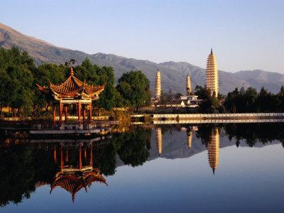 The Three Pagodas of Dali at Foot of the Cangshan Mountains, Dali, Yunnan, China