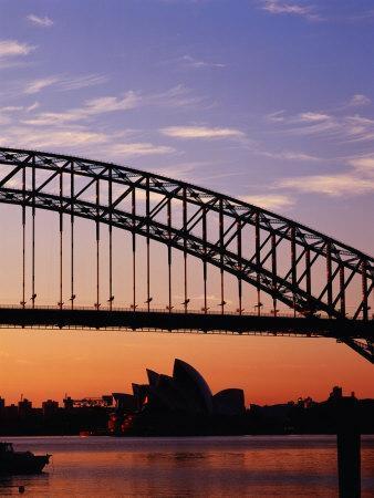 Sunrise Over Sydney Harbour Bridge and Sydney Opera House, Sydney, Australia