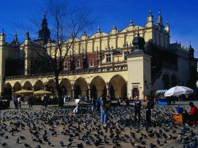 Sukiennice Arcaded Cloth Hall on Main Market Square, Krakow, Malopolskie, Poland
