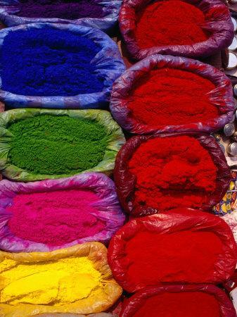 Brightly Coloured Powders for Sale at Pashupatinath Market, Pashupatinath, Bagmati, Nepal