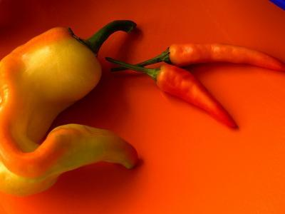 Chilli Peppers in Varying Shades on an Orange Plate, Australia