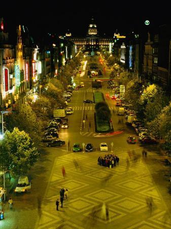 Wenceslas Square at Night in New Town, Blur, Prague, Czech Republic