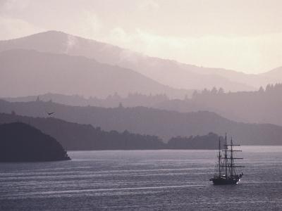 Spirit of New Zealand Sails Through Marlborough Sounds from Queen Charlotte Drive, New Zealand