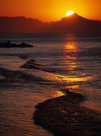Sunset Over the Waves of Costa Blanca Near Denia, Valencia, Spain