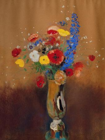 Bouquet of Wild Flowers in a Vase with Long Neck, 1912, Gouache