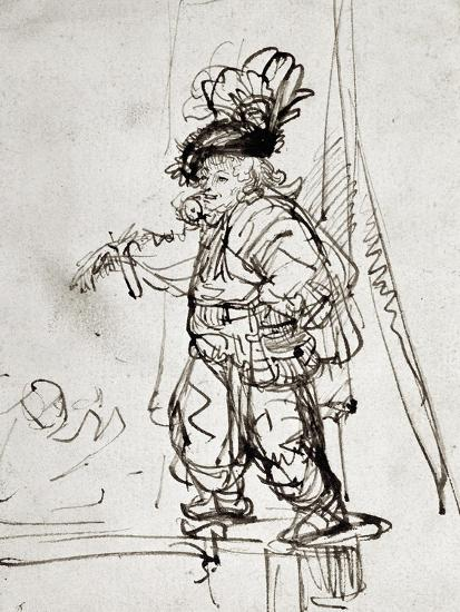 Actor with Parrot, Pen and Brown Ink Drawing Giclee Print ...
