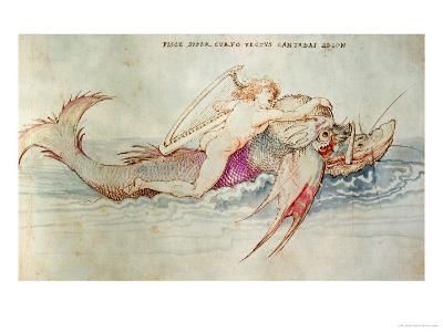 The Greek Poet Arion Riding the Dolphin, Around 1515, Watercolour on Paper