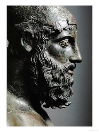 Riace Bronze (B), Head of Bronze Statue of a Young Man with Helmet, Detail