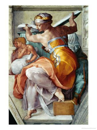 The Sistine Chapel; Ceiling Frescos after Restoration, the Libyan Sibyl