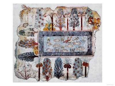 A Garden Pool; Fragment of a Wall Painting from the Tomb of Nebamun