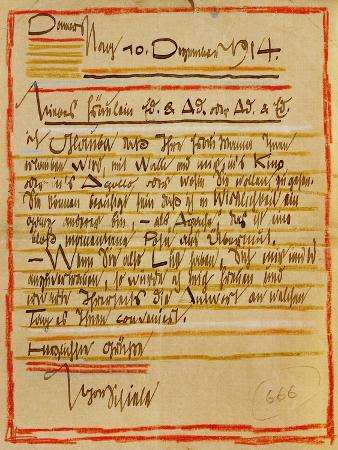 A Letter by Egon Schiele to the Sisters Edith and Adele Harms, Dec.10, 1914