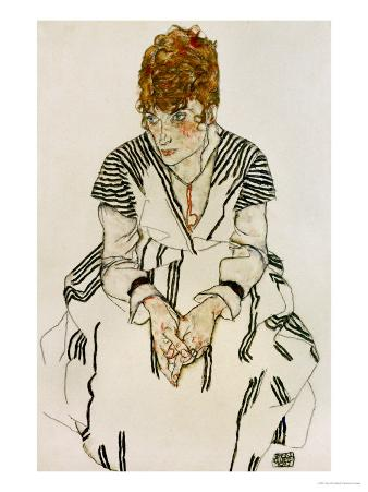 The Artist's Sister-In-Law in Striped Dress, Seated, 1917