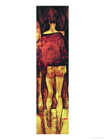 Female Nude, Rear View with Shawl, Fragment