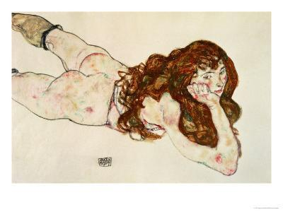 Female Nude on Her Stomach, 1917