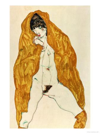 Upright Nude with Spread Legs and Yellow-Brown Shawl, 1914