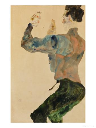 Self-Portrait with Raised Arms, Rear View, 1912