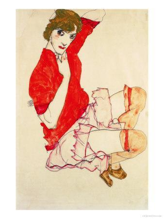 Wally in Red Blouse with Raised Knees, 1913