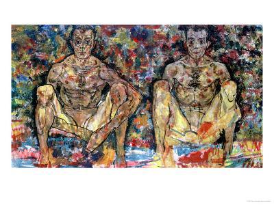Two Squatting Men, (Double Self-Portrait), 1918