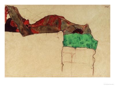 Reclining Male Nude with Green Cloth, 1910