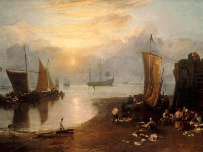 Sun Rising Through Vapour: Fishermen Cleaning and Selling Fish