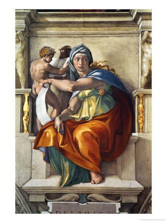 The Sistine Chapel; Ceiling Frescos after Restoration, the Delphic Sibyl