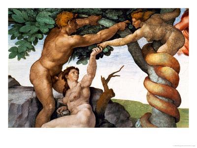 The Sistine Chapel; Ceiling Frescos after Restoration, Original Sin