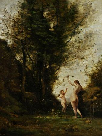 A Nymph Playing with a Cupid, 1857