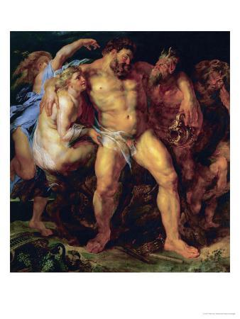 Hercules, Drunk, Led by a Nymph and a Satyr, circa 1612-14