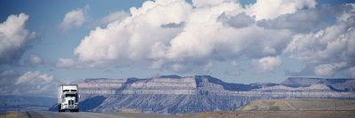 Truck on the Road, Interstate 70, Green River, Utah, USA