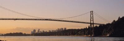 Bridge at Dawn, Lions Gate Bridge, Vancouver, British Columbia, Canada