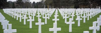 Rows of Tombstones in a Cemetery, American Cemetery, Normandy, France