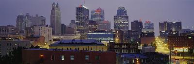 Buildings Lit Up at Dusk, Kansas City, Missouri, USA