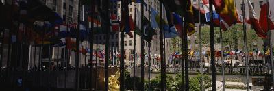 Flags in a Row, Rockefeller Plaza, Manhattan, New York, USA