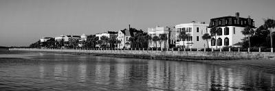 Buildings along the Waterfront in Black and White, Charleston, South Carolina, USA